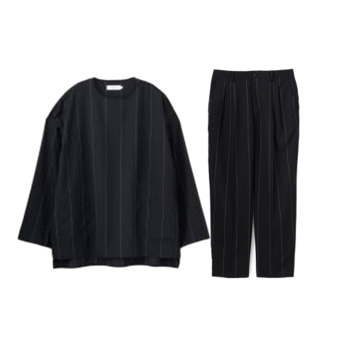 Graphpaper(グラフペーパー) Wide Stripe Wool Pullover Wide Stripe Wool 2 Tucks Pants 2020SS