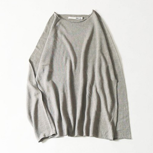 evam eva(エヴァムエヴァ) washable linen raglan pullover -men's