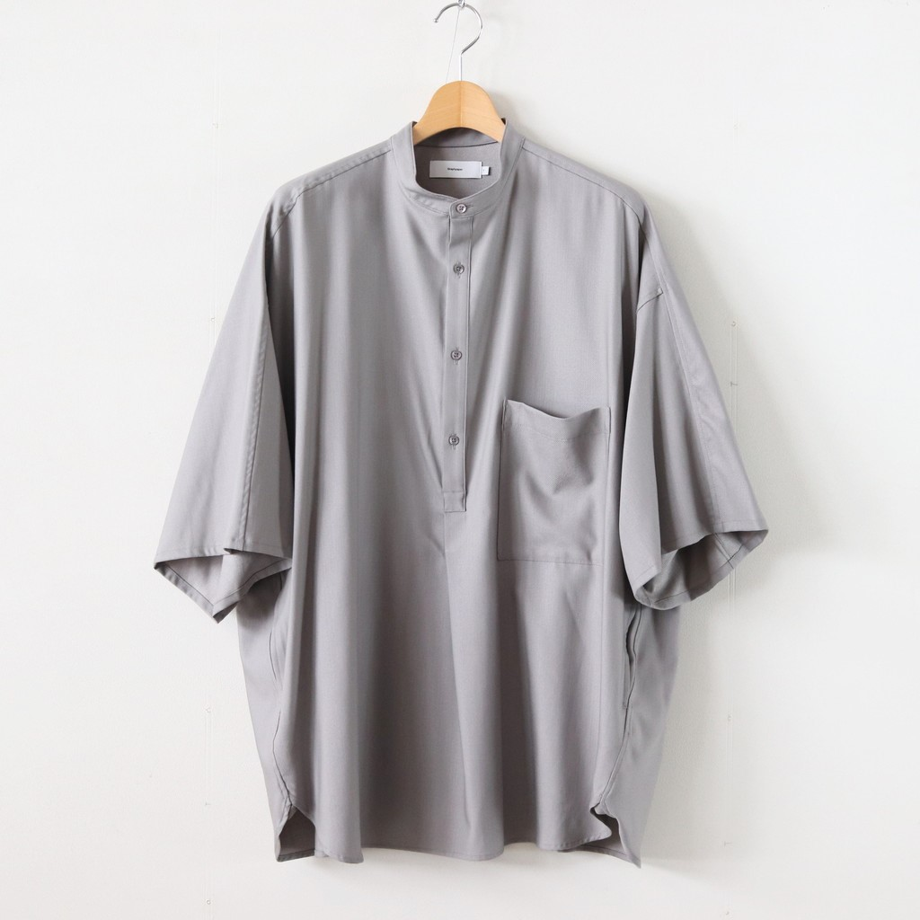 Graphpaper(グラフペーパー) 2020SS Silk Wool Stand Collar York Short Sleeve Shirt #GRAY