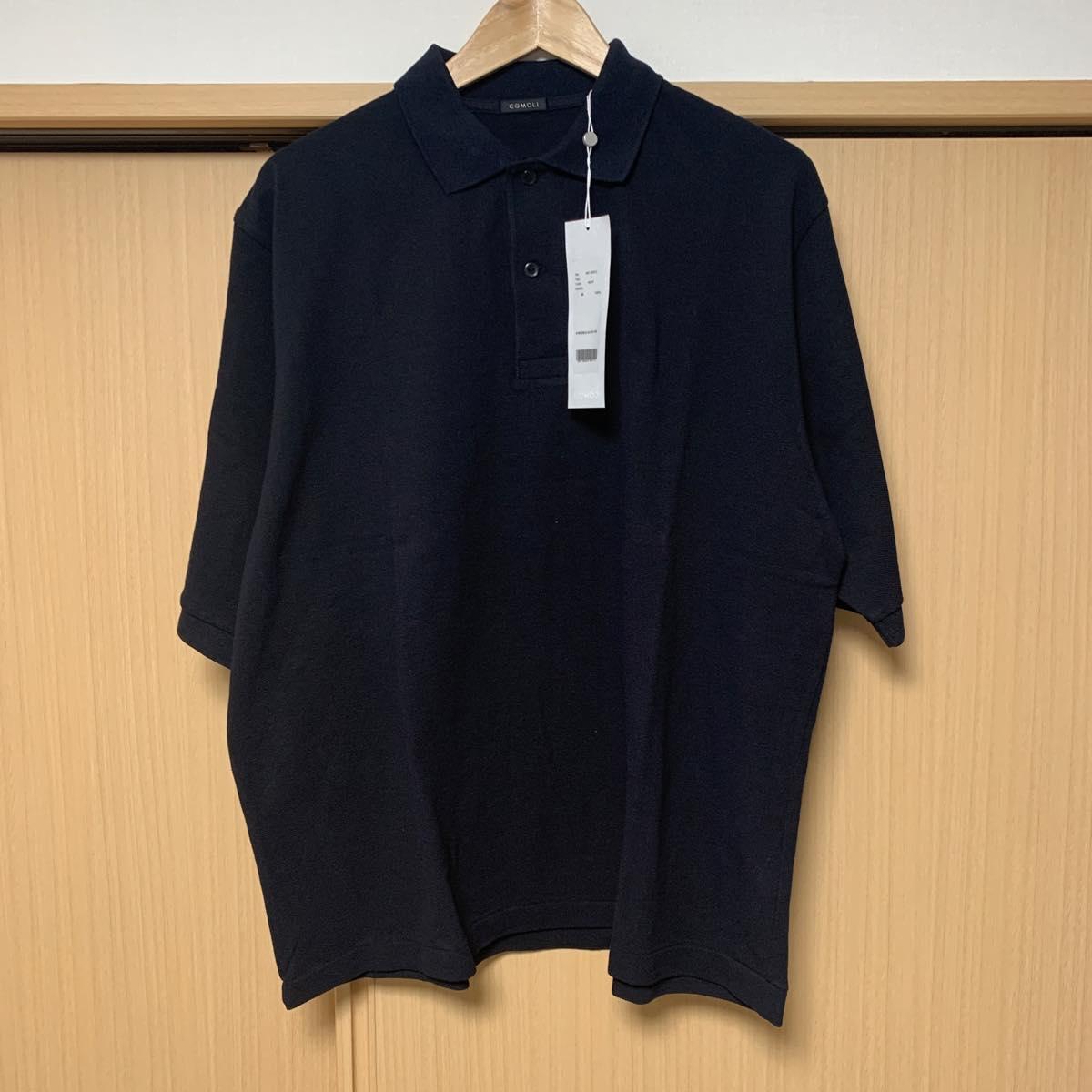 COMOLI(コモリ)  鹿の子 半袖ポロシャツ NAVY
