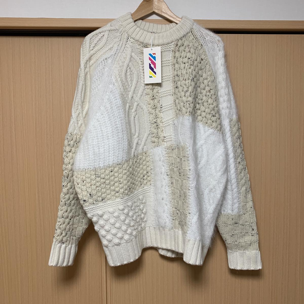 is-ness (イズネス)MOSAIC KNITTED SWEATER / モザイクニットセーター [31KNT01] Natural